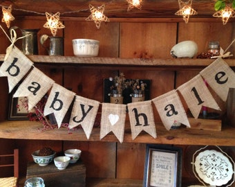Burlap Banner, Baby Shower Decoration, Baby Name Banner, Baby Girl Bunting, Baby Boy Banner, Pregnancy Photo Prop, Rustic Bunting, Bunting
