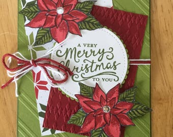Stampin Up handmade Christmas card - Poinsettias in red and green