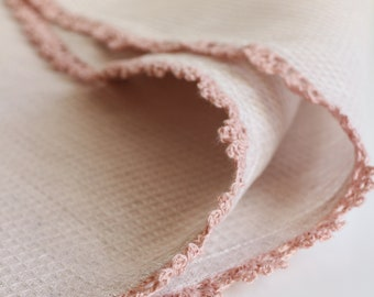 100% linen pink waffle hand towels with pink handmade lace trim