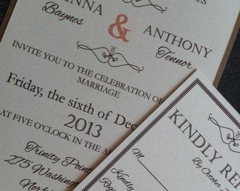 Modern style but vintage look wedding invitation Copy
