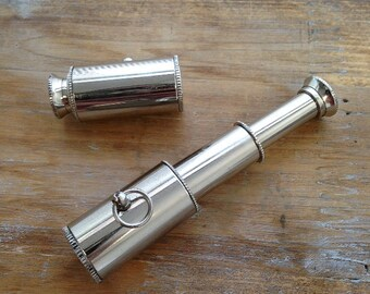 1 - Collapsible Spyglass Pendant, Shiny SILVER, Really WORKS, Telescope, Vintage Jewelry Supplies (BA044)