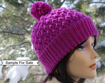 Knit Hat with Pom Pom, Knitted Beanie, Beanie Hat, Knitted Hat, Knit Beanie, Knit Pom Hat, Pom Pom Hat, Brim Hat Beanie