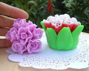 Parrot Tulip Mold Bouquet of Flowers Mold Flowers with Leaves Mold Tulip Bouquet Mold Flowers Mold 3d Tulip Bouquet Mold