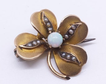Victorian Antique Four Leaf Clover Brooch Pin Gold & Opal Lucky Pin Tested 10K - 14K