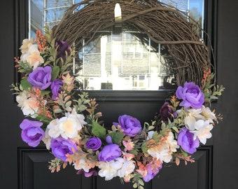 Spring wreath in purple