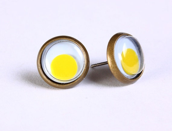 Sale Clearance 20% OFF - Yellow google eyes hypoallergenic stud earrings (497)