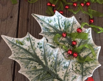 Vintage handpainted ceramic holly dish Christmas Holiday decor Candy tray trinket dish red berries green leaves retro decor kitsch
