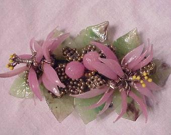 Jan Carlin Bonsai Jade 40s Flower Broach Hand made