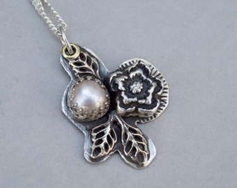 Vintage Pearl Sterling Silver Rustic Necklace . Flower . Rustic  . Mixed Metals. Stamped