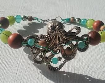 Blue Green Octopus Bracelet