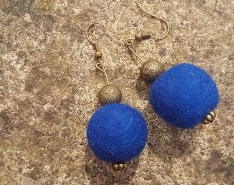 Blue Felted Earrings