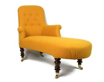 Antique 19th Century French Chaise Longe fully restored and reupholstered in Harris Tweed