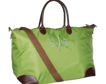 Weekender Overnight Bag   Monogrammed Tote Bag   Bridesmaid Tote   Nylon Tote Bag   Bridesmaid Gift  Lime Green Weekender Tote Bag