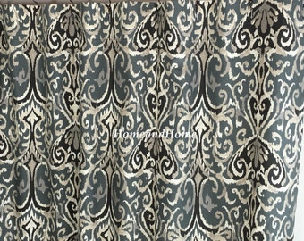 Fabric Shower Curtain Ikat Shower Curtain Midnight Ivory Grey Black Extra  Long Shower Curtain 72 X 84 108 Extra Wide Shower Curtain