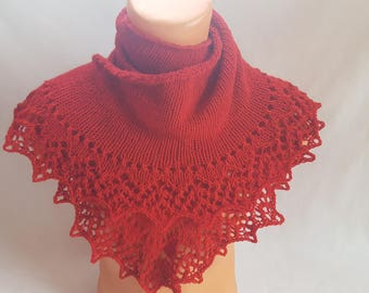 Knitted shawl Shawl as a gift Gift for girlfriend Hand Knit Lace wrap shawl Red Shawl Gift for her Shawl wrap