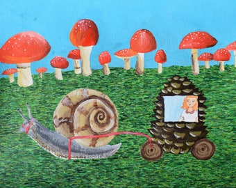Annabelle Enjoys a Ride in a Snail Drawn Carriage art illustration painting