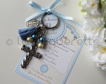 Baptism and First Communion favors - Favor card with religious key-ring