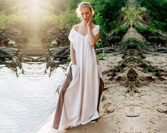 Linen dress Satya, Beige maxi dress, dress-meditation, long dress, oversize dress, boho dress