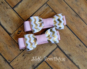 pink, white and gold Chevron Baby bows, Valentine's Day Baby bow set, mini bows, clip set, little bow clips, dainty bow clips, bow set