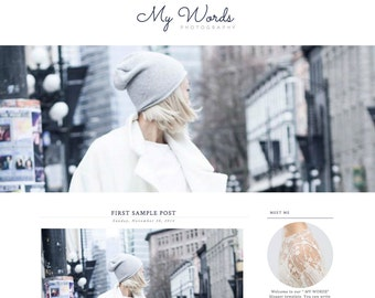 Blogger Template Premade Blog Theme Design My Words - Instant Digital Download, Clean, Mint and White