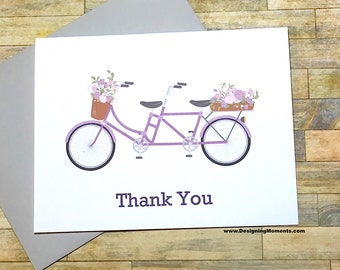 Tandem Bicycle Thank You Card Set, Lilac Wedding Thank You Cards, Lavender Tandem Bicycle, Engagement Thank You Cards, Bike Cards DM275