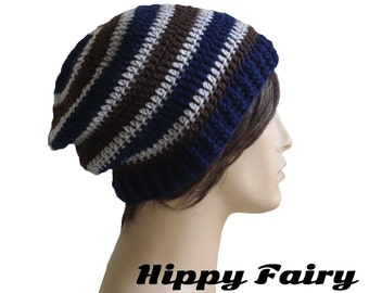 Mens slouchy beanie,Slouch hat, Mens beanie hat, mens striped hat, crochet mens hat, beanie for men