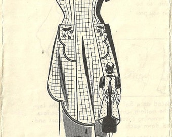 Vintage Mail Order Sewing Pattern 8387 / 40s Bibbed Apron Pinafore / Size 36 Bust