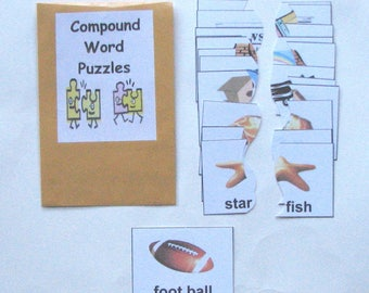 Teacher Made Literacy Center Vocabulary Resource Game Compound Word Puzzles