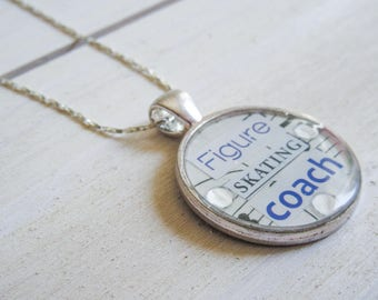 FIGURE SKATING COACH Collage Pendant Necklace Ice Skating Gift for Skaters