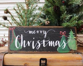 Christmas Decoration, Merry Christmas Sign, Christmas Tree Wood Sign, Christmas Sign, Christmas Decor, Rustic Sign, Holiday Decor Seasonal