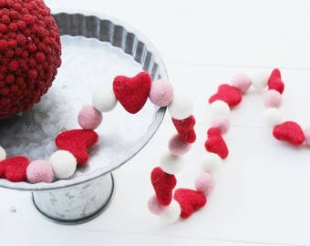 "Handmade 32"" Heart Wool Felt Ball Garland"