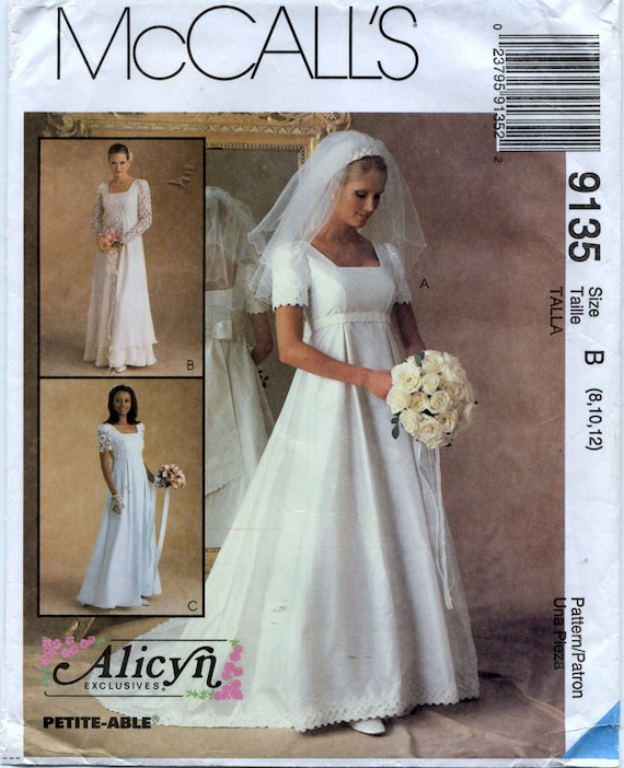Misses\' Empire Bridal Gown and Bridesmaid Dress Sewing Pattern ...