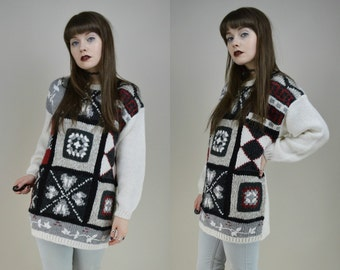 90s Grunge Chunky Knit Abstract Patchwork Sweater S / M