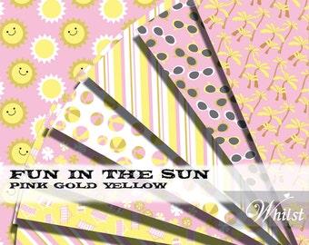 Beach digital paper, pool party scrapbooking pink yellow digital paper printable download background   : p0203 3s081037