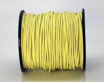5 feet Lemon Yellow Leather Cord - 2mm Genuine Leather Round Cord (04) - USA Seller