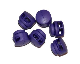 Purple Cord Locks for Paracord - 3mm x 6.5mm Diameter Hole Double Hole Round - Paracord Add On