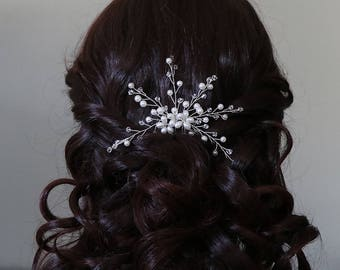Pearl Wedding Hairpin, Crystal Bridal Hair Pin, pearl hair pin, pearl rhinestone hairpin, bridal hairpin, Sarah Pearl Hairpin