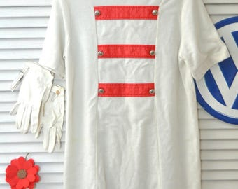 70s 60s Girls Vintage Costume Dress & Gloves Majorette Marching Band Uniform White w/red trim Costume size 10-12 M Distressed as is dress up