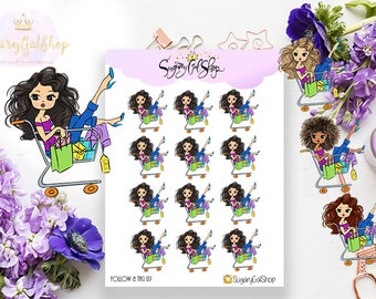 Miss Glam Lady D Shopping Addict Stickers