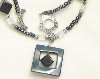 Blue Goldstone and Mother of Pearl Necklace