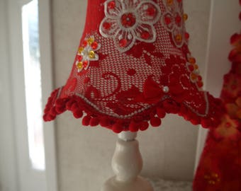 Red shabby chic Lampshade and lamp base