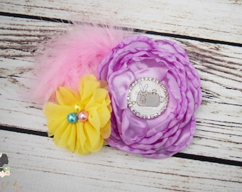 Handcrafted Easter Hair Clip - Lilac Purple Yellow and Light Pink Bow - Over the Top Hair Accessory - Cat Easter Hair Clip - Alligator Clip