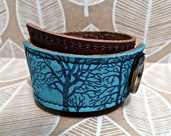 Leather Cuff Bracelet Wrap, Tree Silhouette Print in Brown & Turquoise