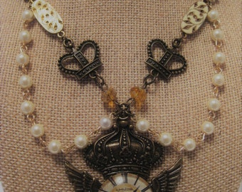 Steampunk Time Flys Necklace/ Victorian Crowns, Pearls Necklace/ Royal Crown & Pearl Necklace