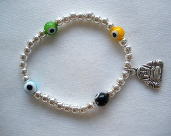 Evil Eye Bracelet, Buddha Bracelet, Evil Eye Jewelry, Yoga Bracelet, Zen Jewelry, Silver Charm Bracelet, Magic Eye Bracelet
