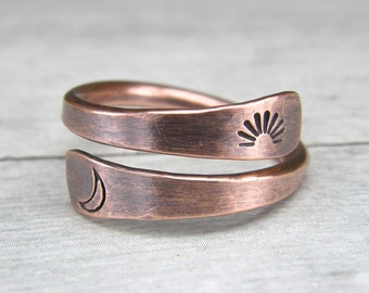Sun & Moon Ring -His and Hers Rings - Soulmates Rings - Girl Friend Gift - Soul Mate Rings - Copper Wire Wrap Ring - Lovers Couples Rings