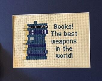 TARDIS Book Quote Cross Stitch Pattern