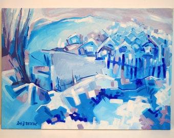 Landscape painting on canvas. blue village
