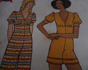 Vintage 1970's Butterick 6574 Jumpsuit Sewing Pattern, Size 10 Bust 32 1/2