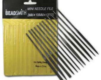 """12 Beadsmith Metal File Set 4"""" Fine For Small Projects Models PMC Art Clay NF738"""